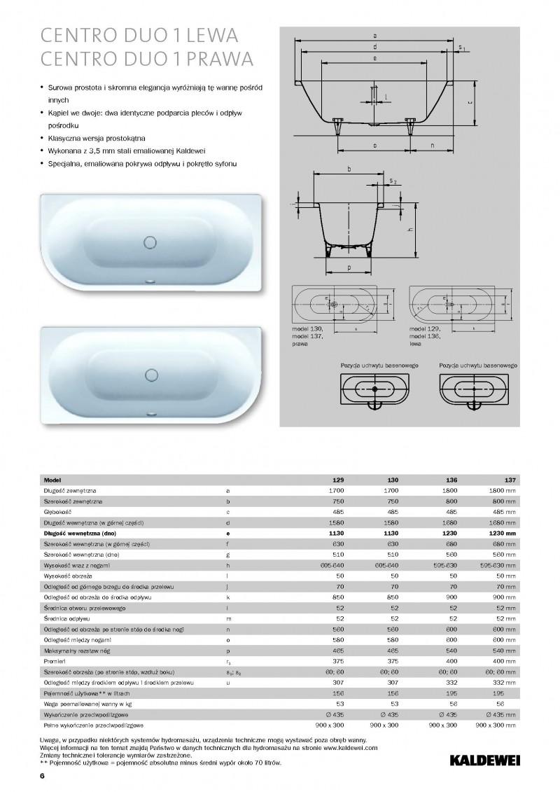 kaldewei centro duo 1 wanna asymetryczna lewa 170x75 bia y model 129 2829 0001 0001. Black Bedroom Furniture Sets. Home Design Ideas