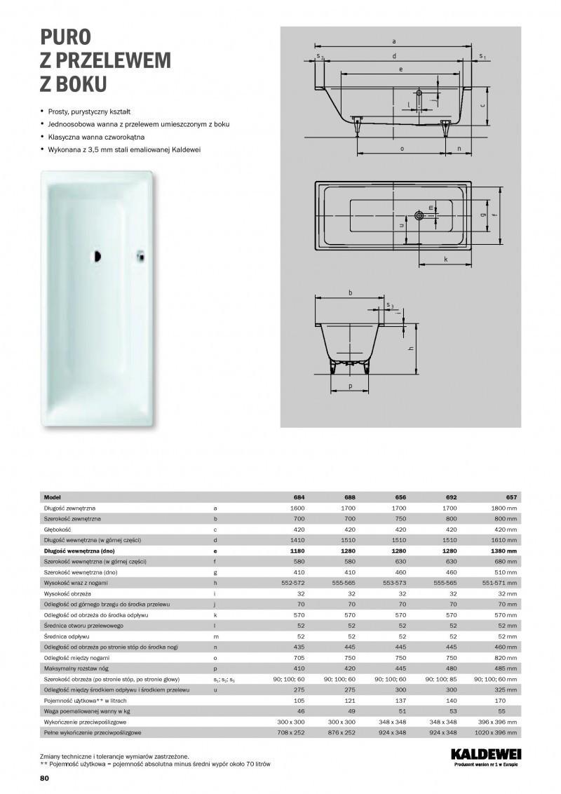 Innovativ Kaldewei Puro wanna prostokątna z przelewem z boku 180x80 model  CF13