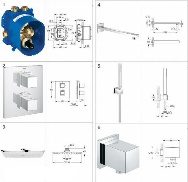 Top Grohe Grohtherm Cube Cosmopolitan zestaw podtynkowy z termostatem  BT89