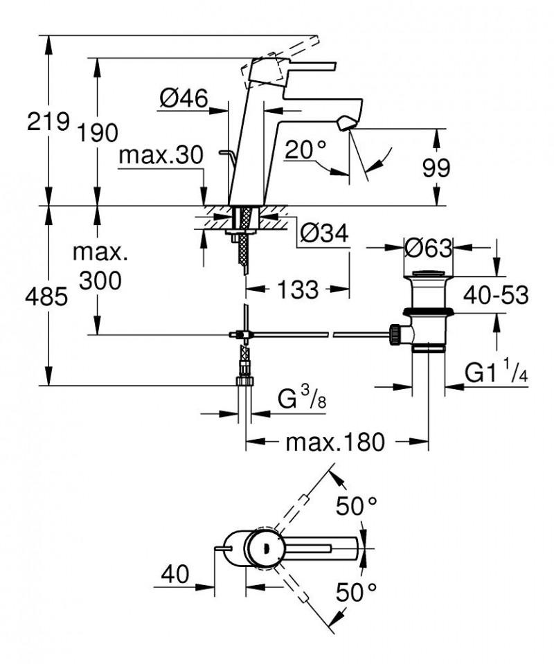 Grohe Concetto Bateria Umywalkowa Z Korkiem Chrom 23450001